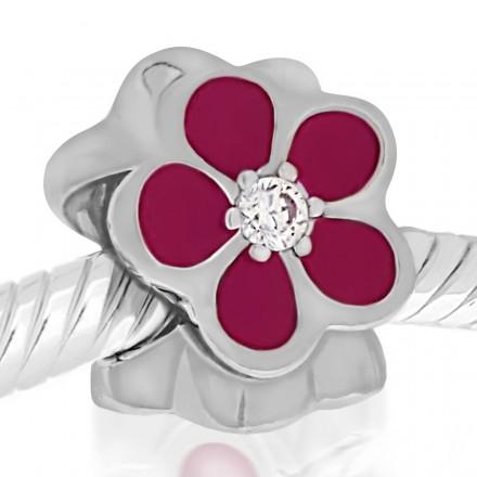 Abalorio flor rosa y piedra blanca