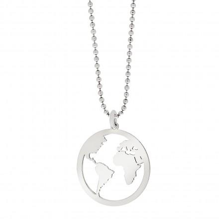 Collar bola del mundo de plata con cadena