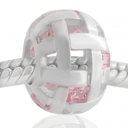 Abalorio redondo con piedras rosa